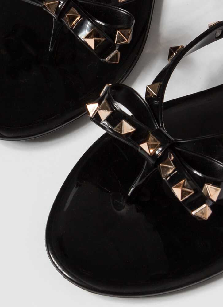 Edgy Girly Studded Jelly Thong Sandals BLACK