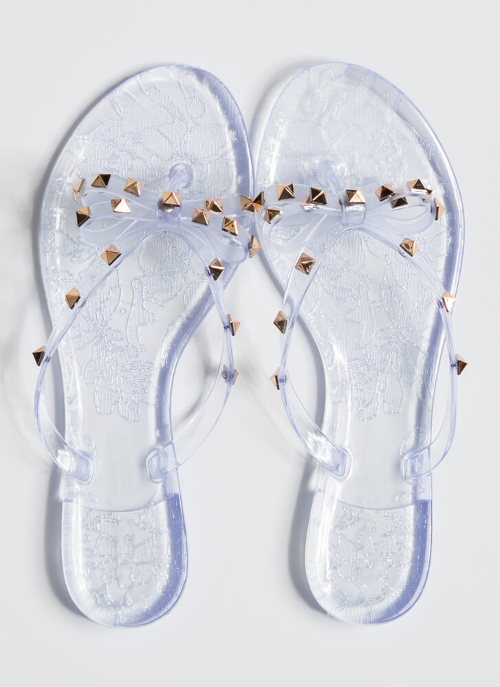 Edgy Girly Studded Jelly Thong Sandals CLEAR