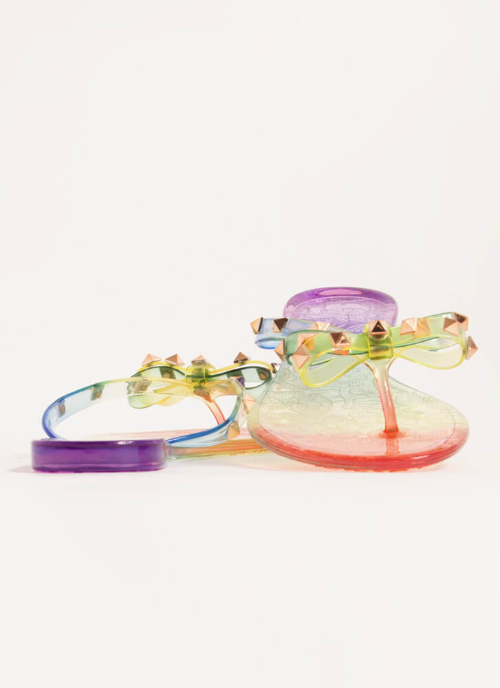 Edgy Girly Studded Jelly Thong Sandals MULTI