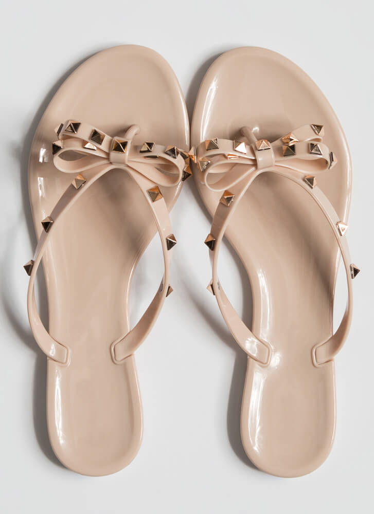 Edgy Girly Studded Jelly Thong Sandals NUDE