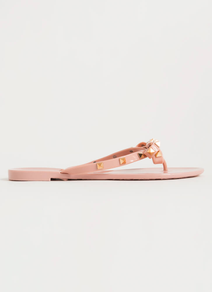 Edgy Girly Studded Jelly Thong Sandals WILDROSE