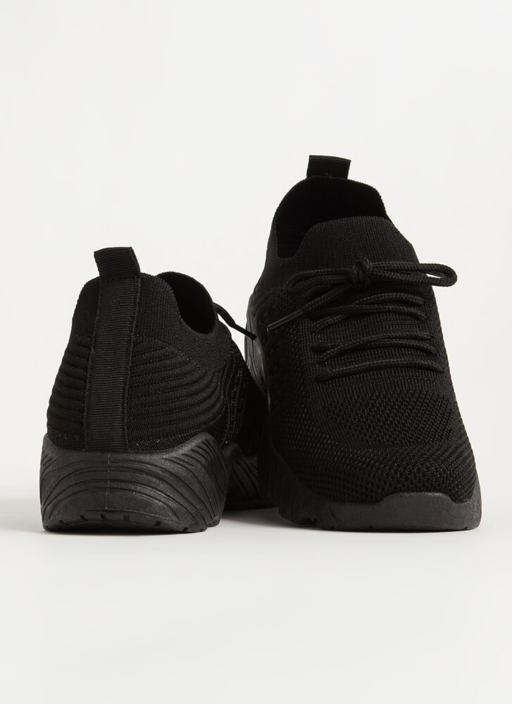 Stretch My Limit Textured Knit Sneakers BLACK