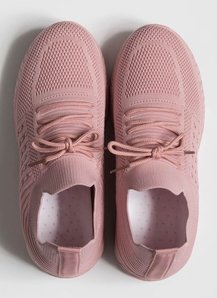 Stretch My Limit Textured Knit Sneakers MAUVE