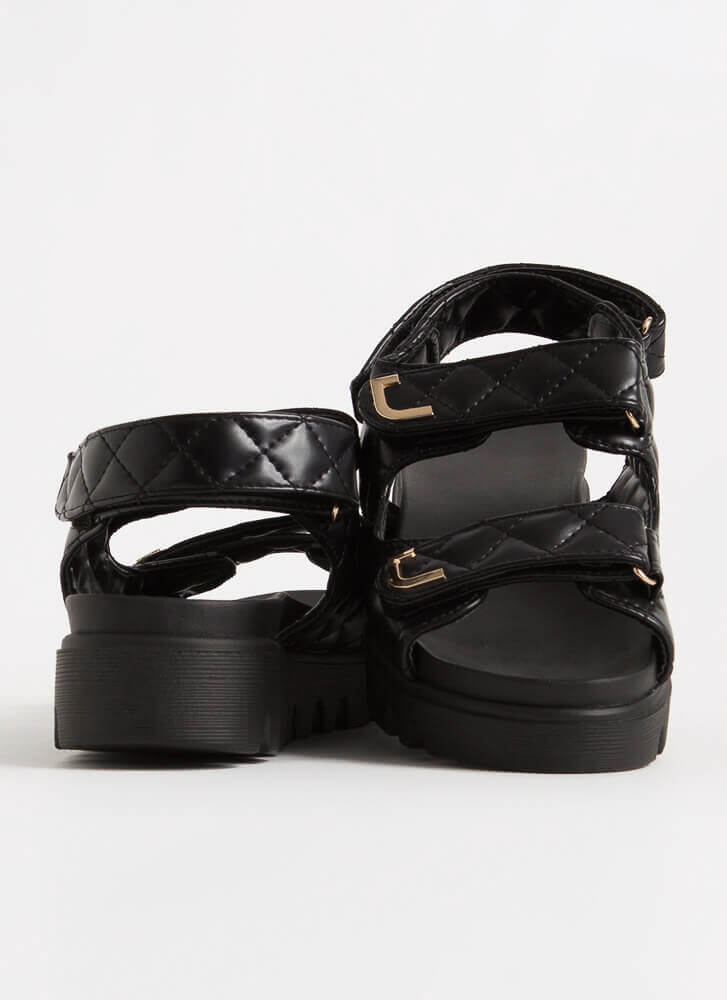 Casual Lady Quilted Platform Sandals BLACK