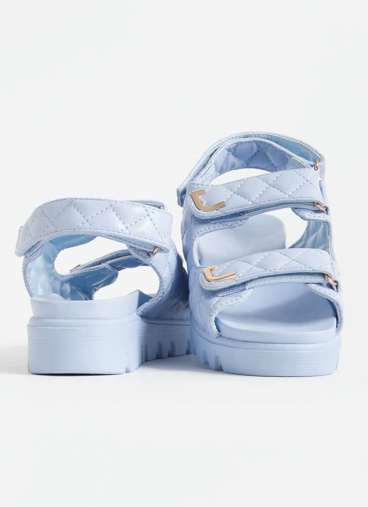 Casual Lady Quilted Platform Sandals BLUE