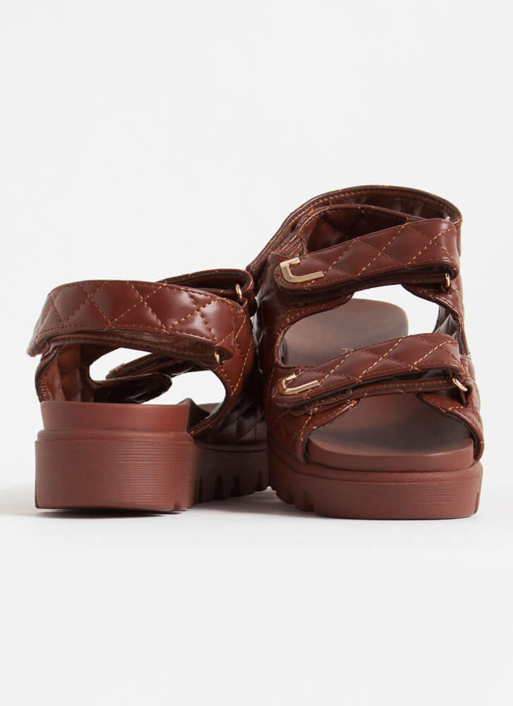 Casual Lady Quilted Platform Sandals BROWN