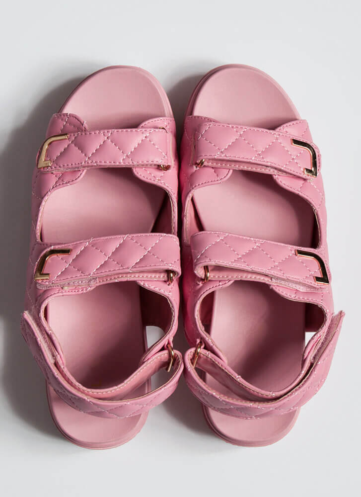 Casual Lady Quilted Platform Sandals PINK