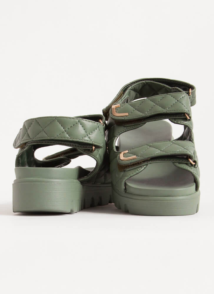 Casual Lady Quilted Platform Sandals SAGE