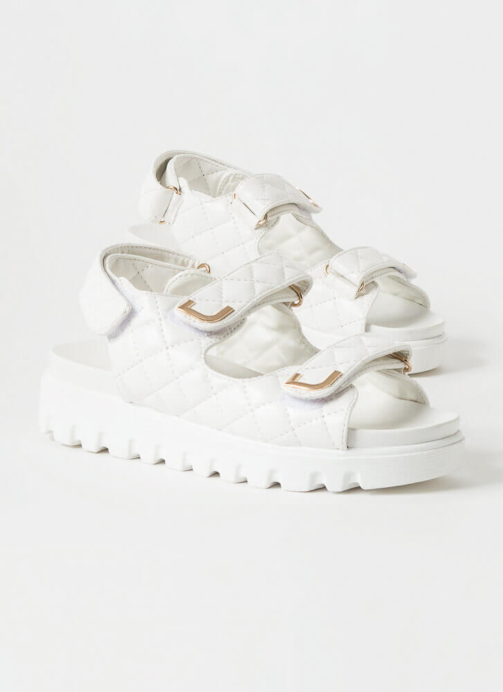 Casual Lady Quilted Platform Sandals WHITE