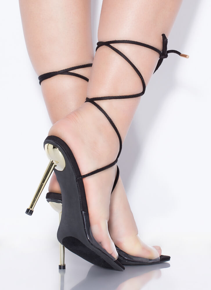 Clear Advantage Lace-Up Illusion Heels BLACK