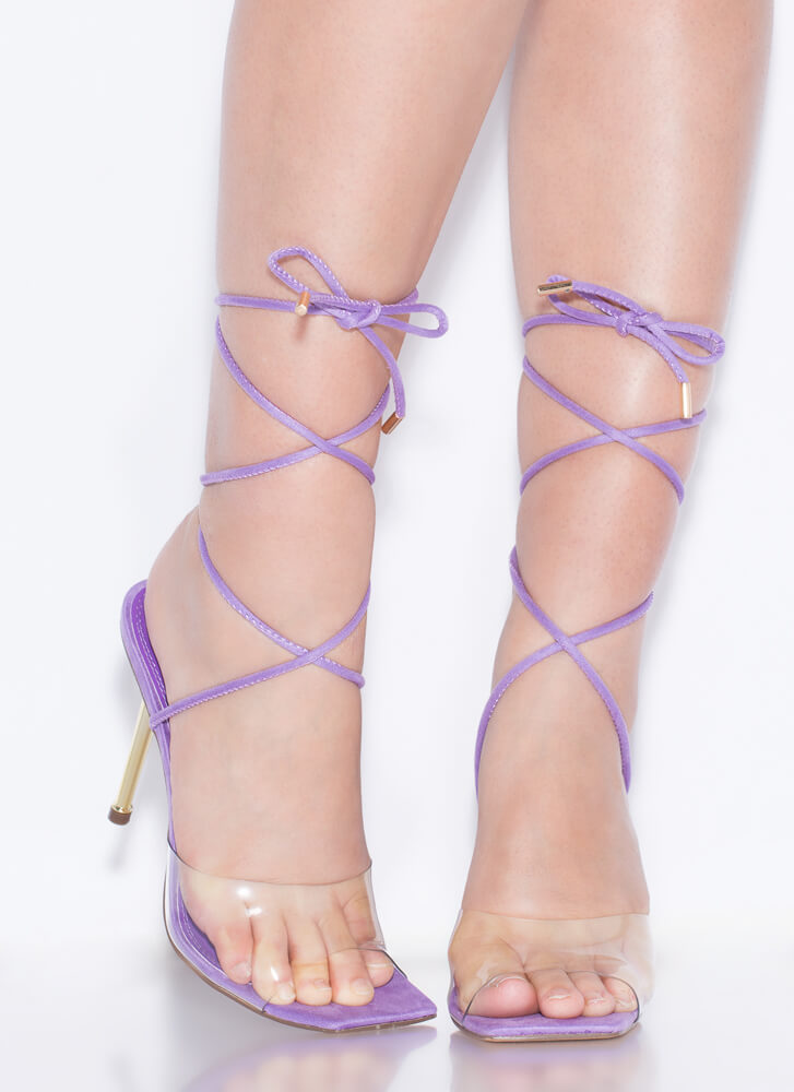 Clear Advantage Lace-Up Illusion Heels LILAC
