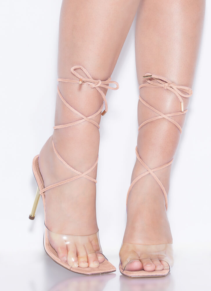 Clear Advantage Lace-Up Illusion Heels NUDE