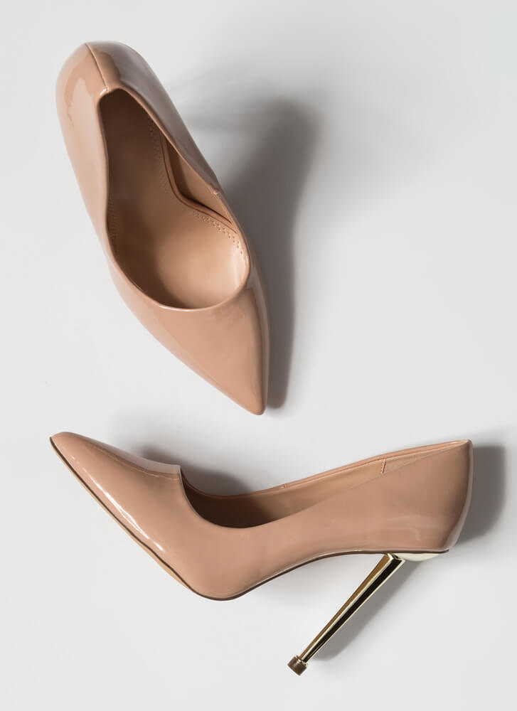 Step On Me Please Pointy Stiletto Pumps NUDE