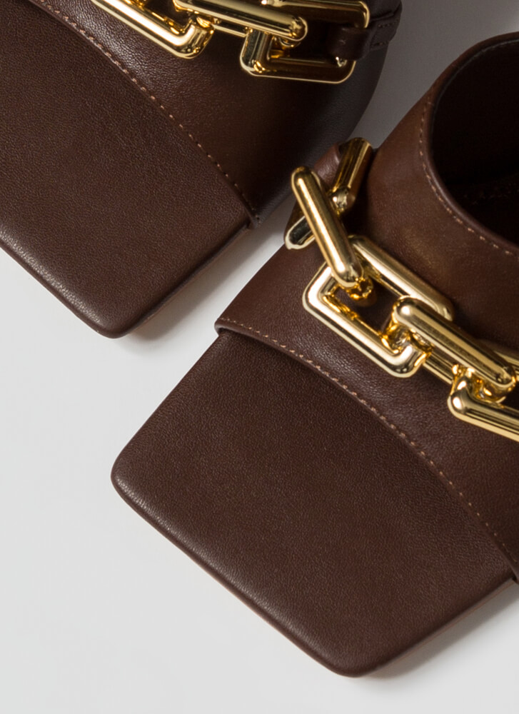 Chain-ged Chunky Square-Toe Mule Heels BROWN