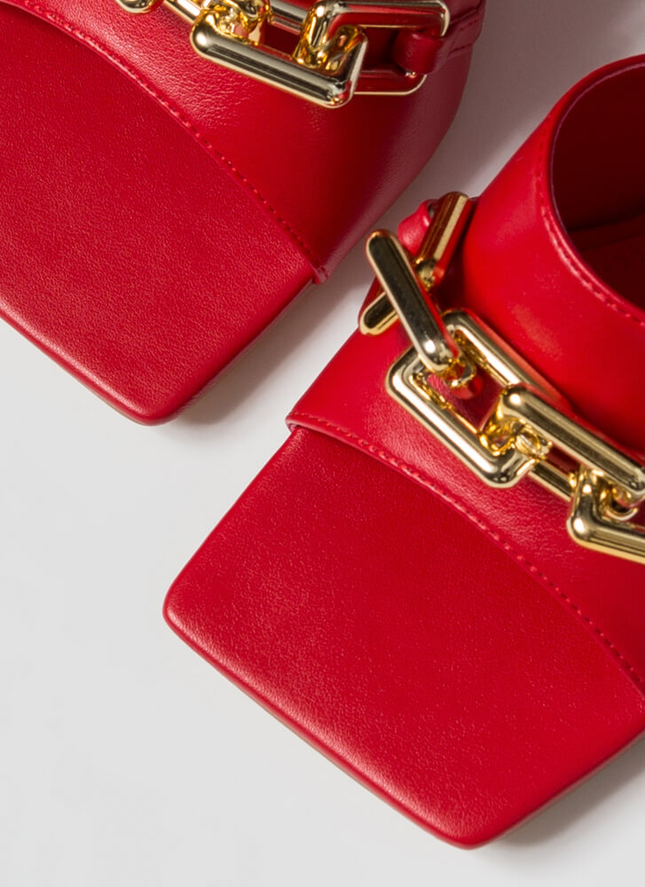 Chain-ged Chunky Square-Toe Mule Heels RED