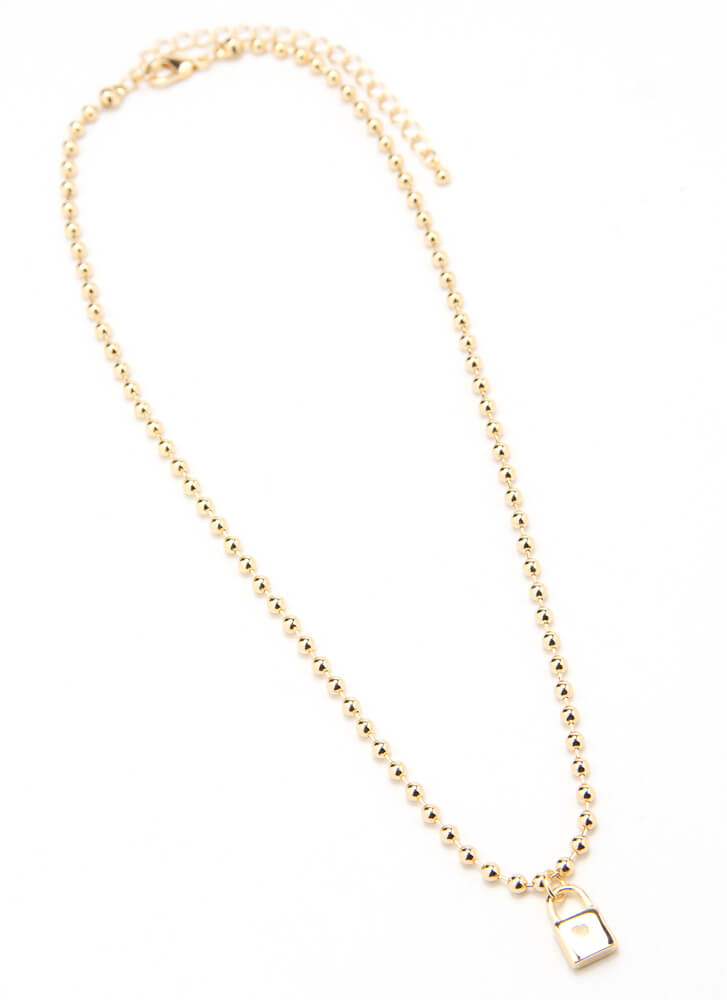 Lock It In Beaded Charm Necklace GOLD
