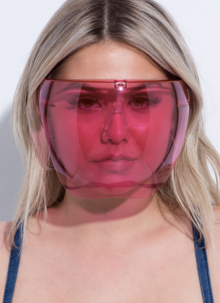 Extra Coverage Face Shield Sunglasses PINK