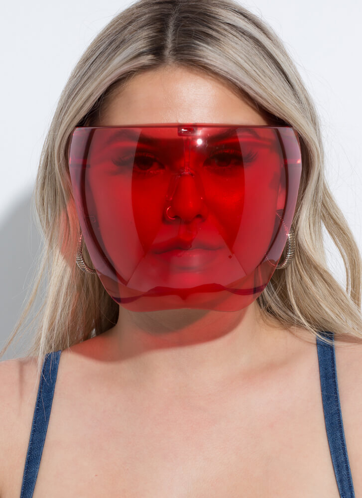 Extra Coverage Face Shield Sunglasses RED