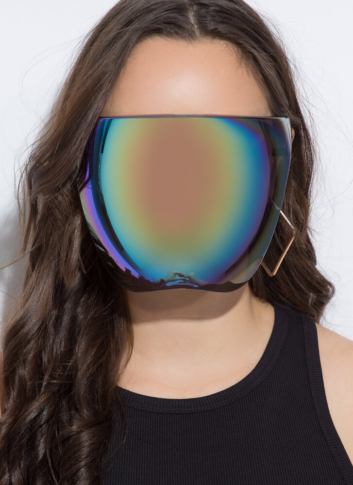 Let's Reflect Face Shield Sunglasses GREEN
