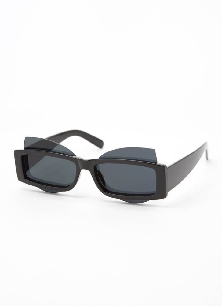 Get Stacked Protruding Lens Sunglasses BLACK