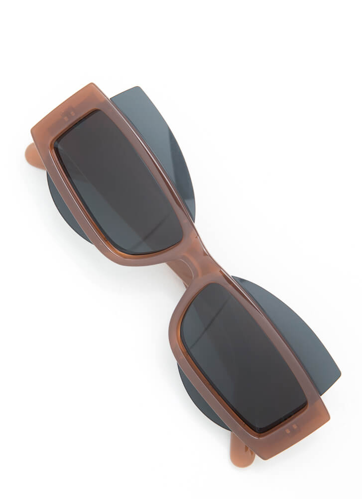 Get Stacked Protruding Lens Sunglasses BROWN
