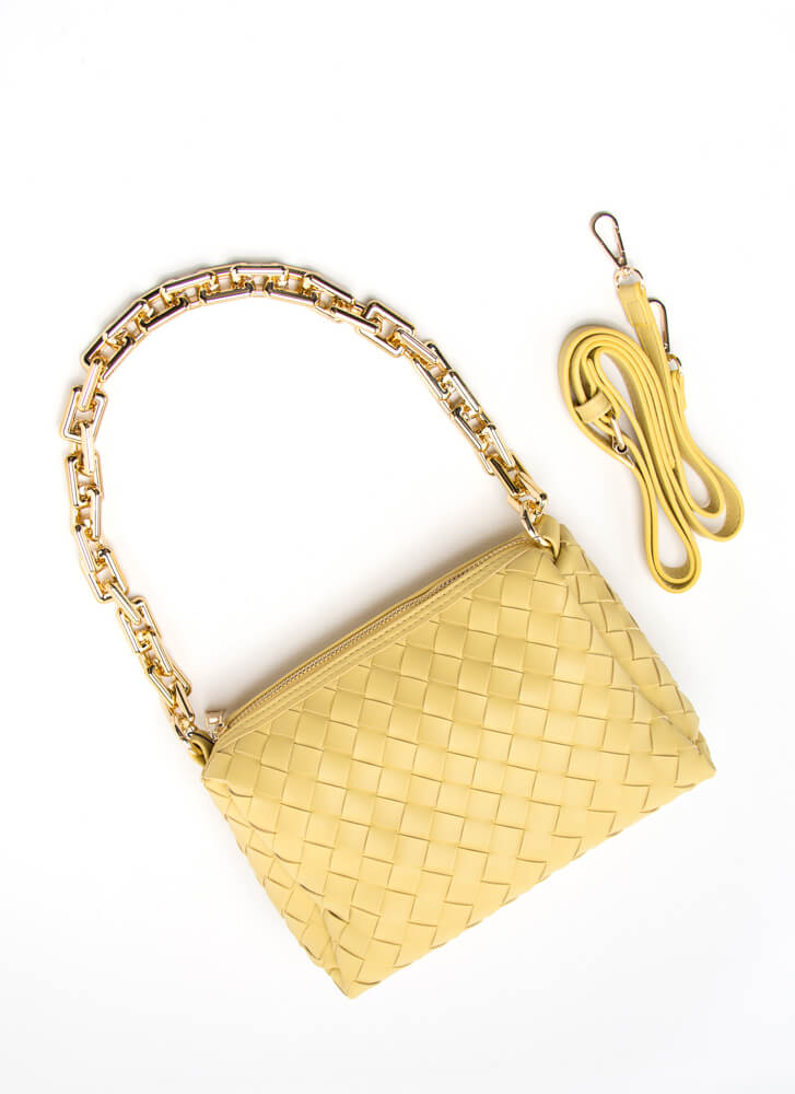 Style Icon Basketwoven Chain Strap Purse YELLOW