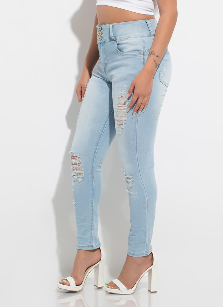 Sweetie Destroyed High-Rise Skinny Jeans LTBLUE