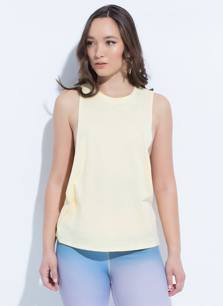 Open To Anything Low-Cut Muscle Tank YELLOW