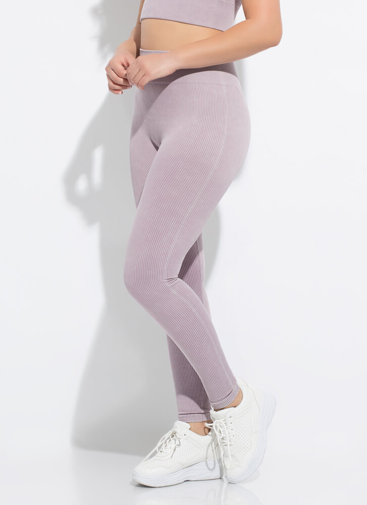 Fit 'Fit Ribbed High-Waisted Leggings LAVENDER