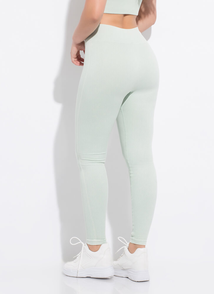 Fit 'Fit Ribbed High-Waisted Leggings MINT