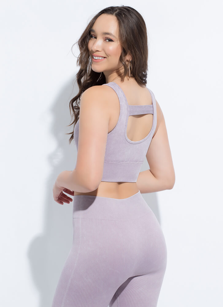 Fit 'Fit Ribbed Cut-Out Sports Bra Top LAVENDER