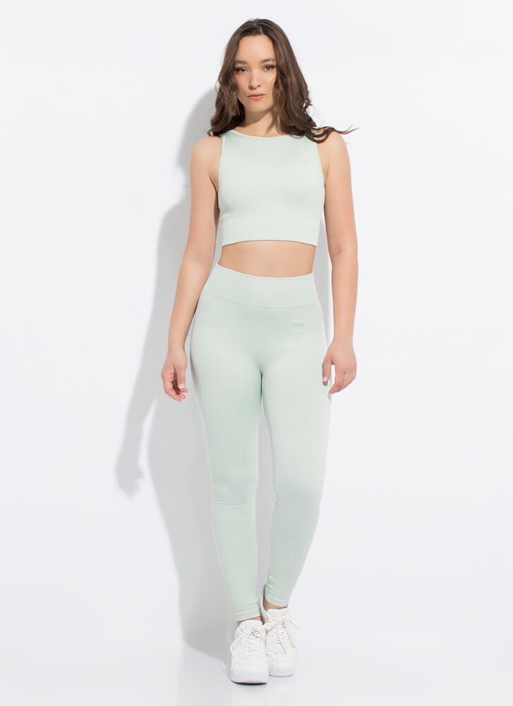 Fit 'Fit Ribbed Cut-Out Sports Bra Top MINT