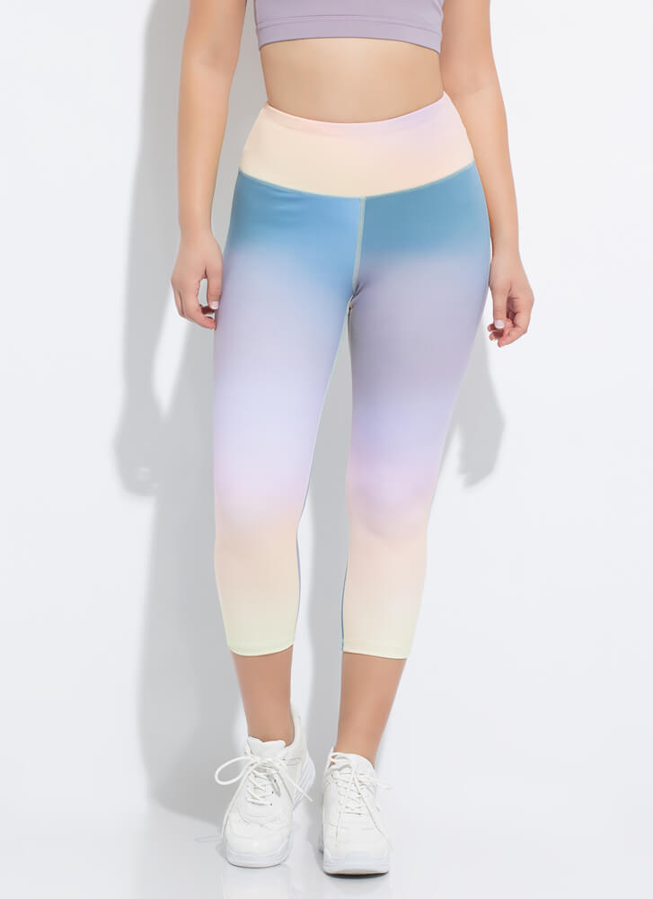 Colorful Workout Cropped Ombre Leggings MULTI