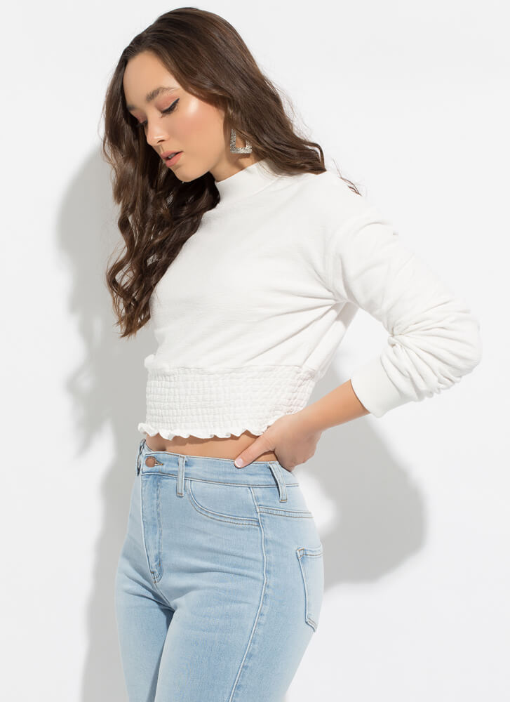 Precious Ruffled Smocked Crop Top WHITE