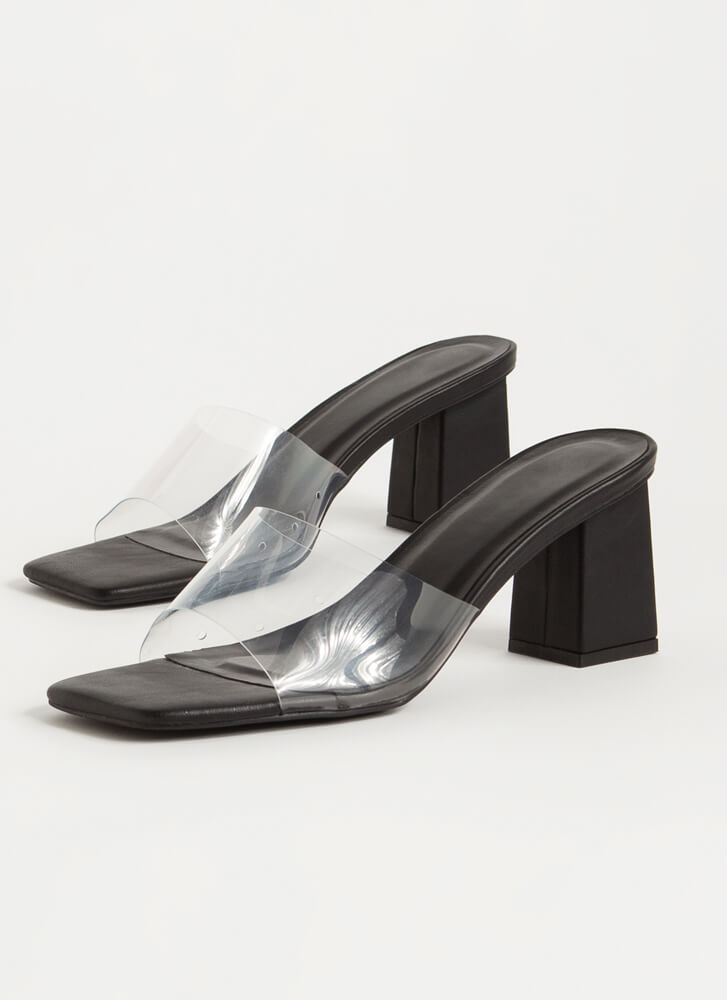 Clear Me Chunky Illusion Mule Heels BLACK