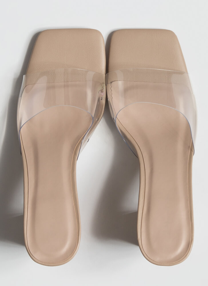 Clear Me Chunky Illusion Mule Heels NUDE