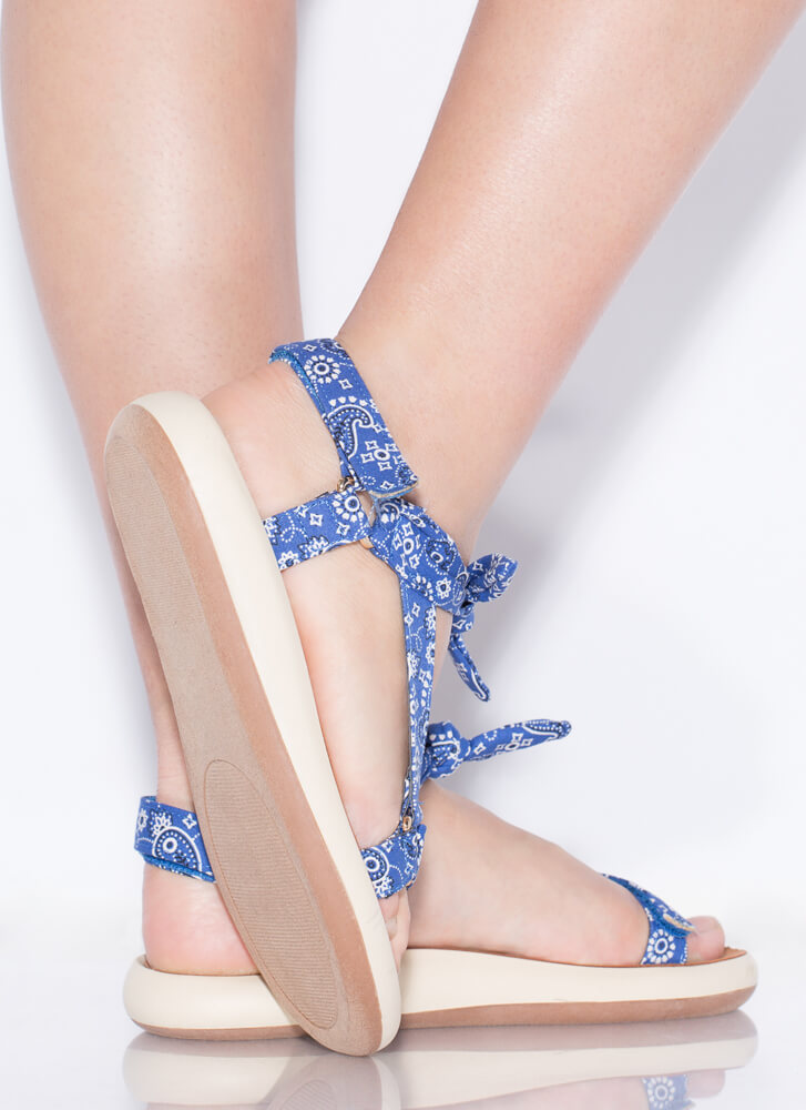 Handkerchief Strappy Knotted Sandals BLUE