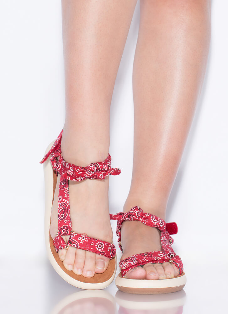 Handkerchief Strappy Knotted Sandals RED
