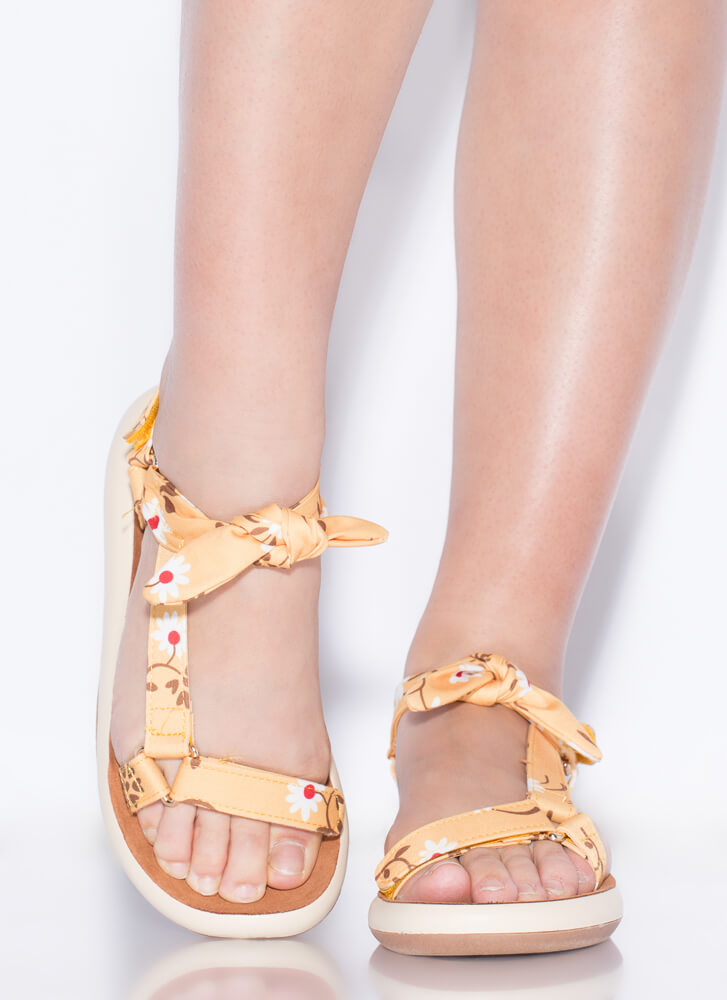Handkerchief Strappy Knotted Sandals YELLOW