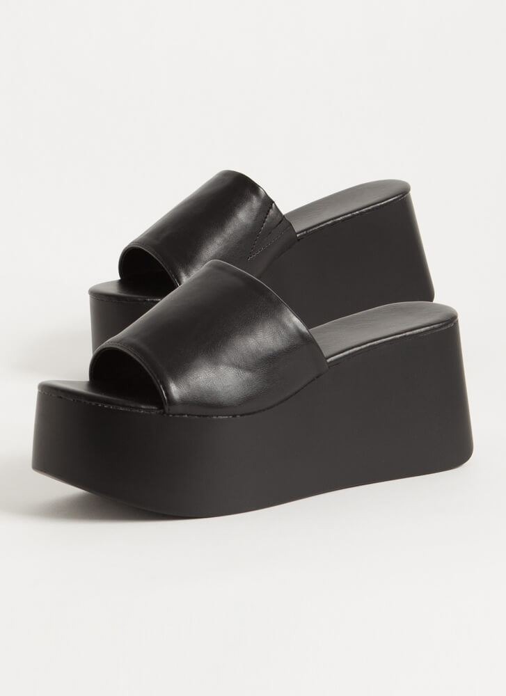 Thru Thick And Thick Platform Wedges BLACK