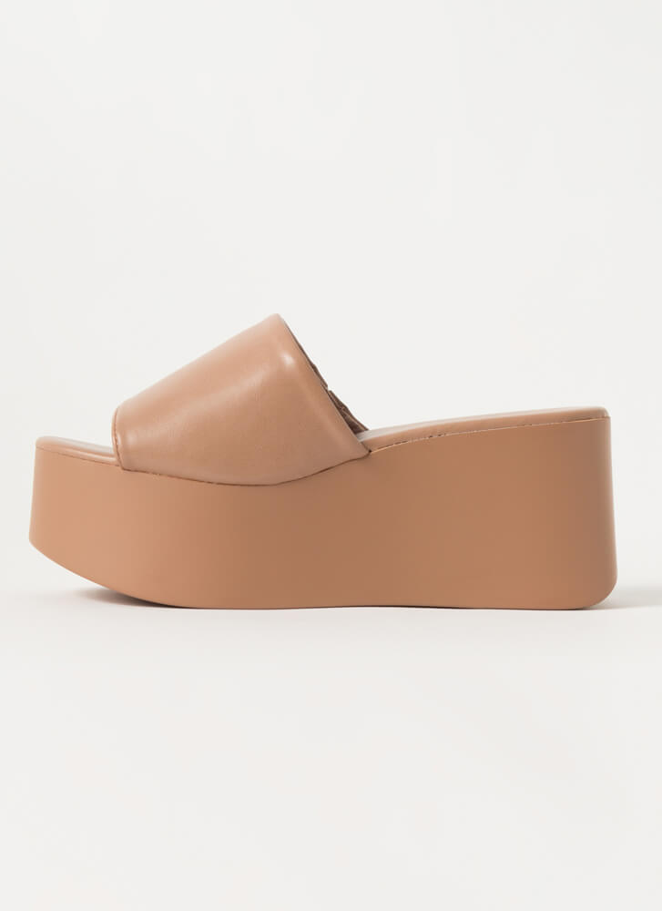 Thru Thick And Thick Platform Wedges CAMEL