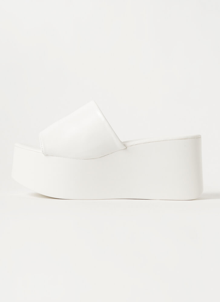 Thru Thick And Thick Platform Wedges WHITE