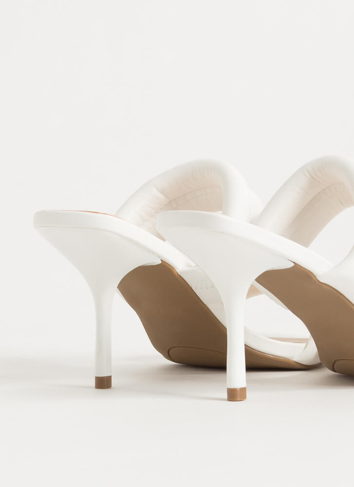 The Next Step Padded Strap Mule Heels WHITE