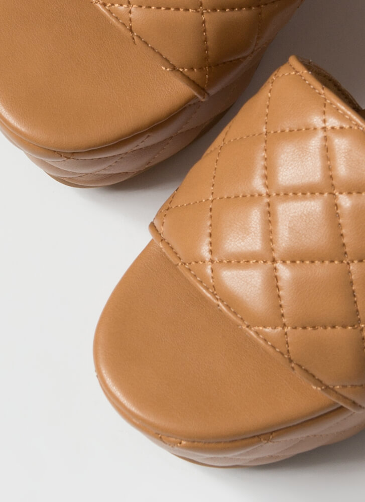 Thick Pic Quilted Platform Slide Sandals TAN