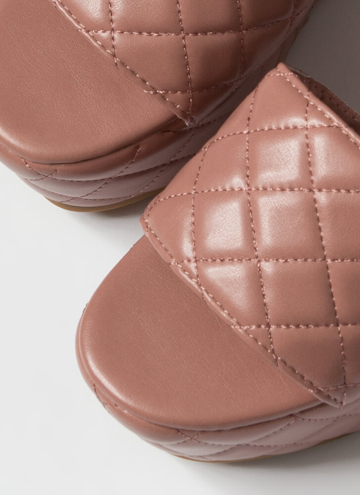 Thick Pic Quilted Platform Slide Sandals TERRACOTTA