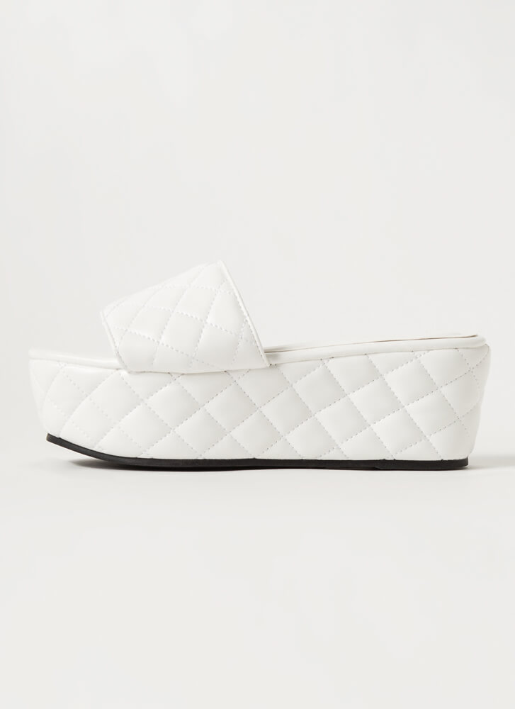 Thick Pic Quilted Platform Slide Sandals WHITE
