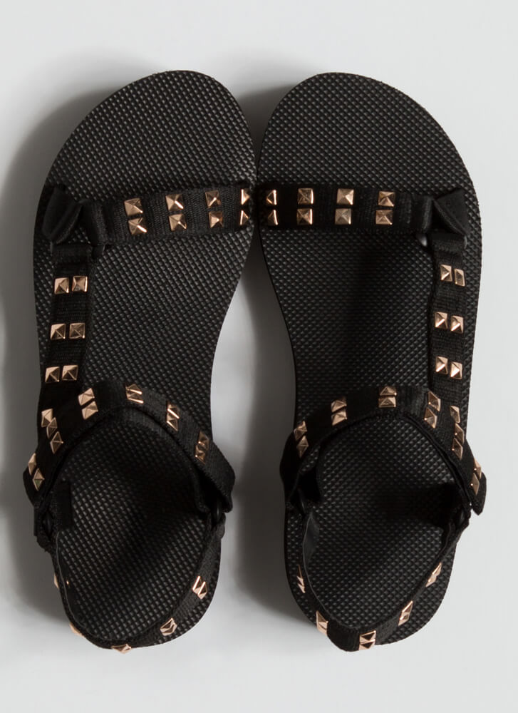 Edge Of Nowhere Strappy Studded Sandals BLACK