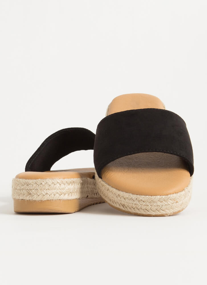Sunny Braided Faux Suede Slide Sandals BLACK