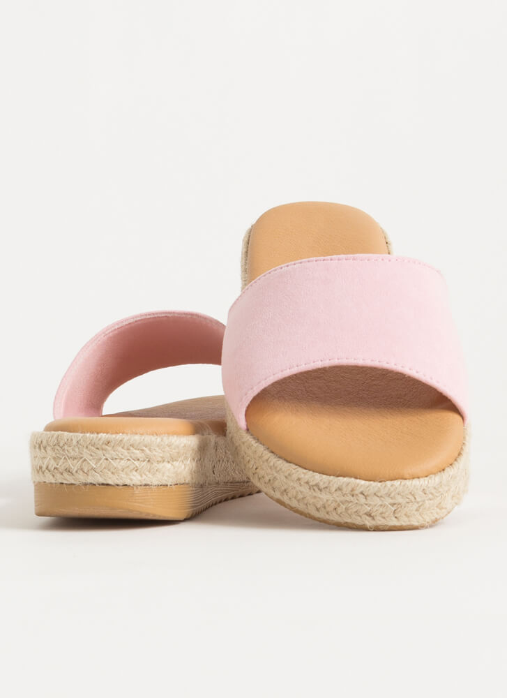 Sunny Braided Faux Suede Slide Sandals PINK