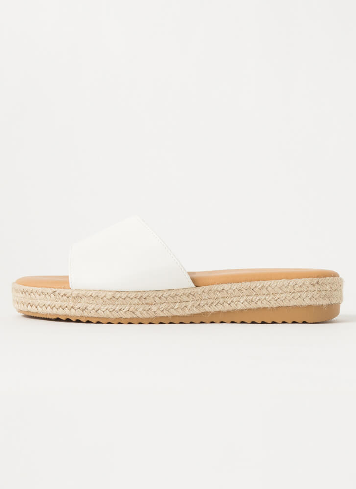Sunny Braided Faux Leather Slide Sandals WHITE